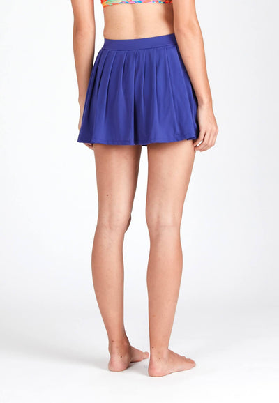 Pleated Swim Skorts in Reflex Blue - FUNFIT