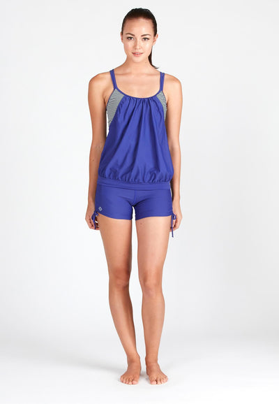 Blouson Tankini Reflex Blue Top (Striped Print) - FUNFIT