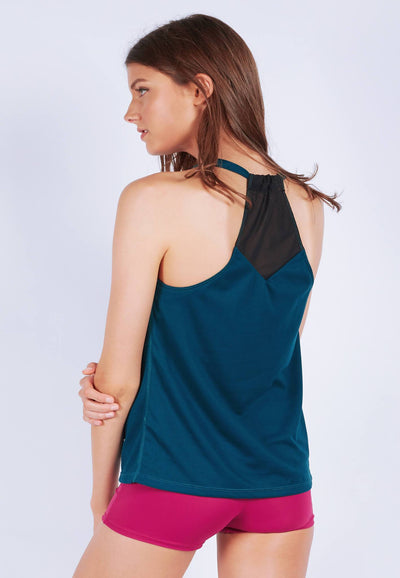 Rocking With Mesh Tank Top in Dark Teal - FUNFIT
