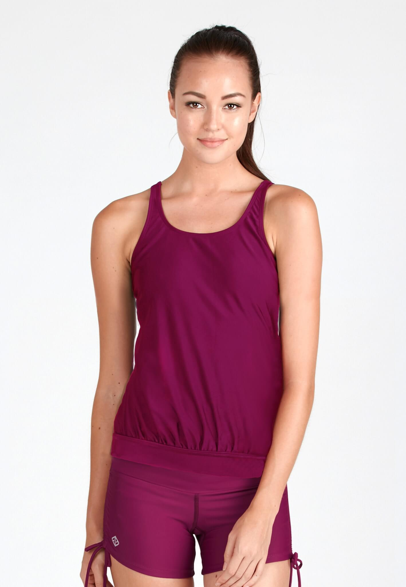 Hemmed Blouson Tankini Top in Mulberry - FUNFIT