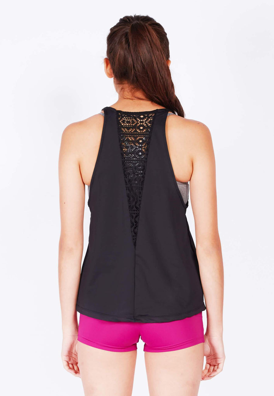 Breathe Tank Top (With Lace) in Black - FUNFIT