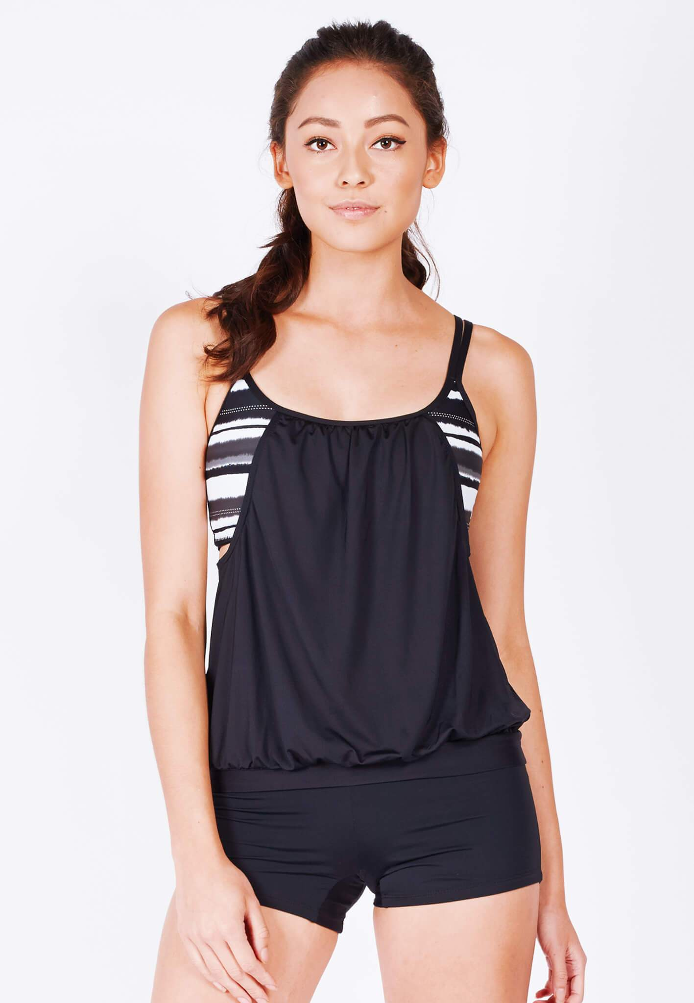 2-in-1 Blouson Tankini II Black Top in Paintbrush Print (XS - 2XL) - FUNFIT