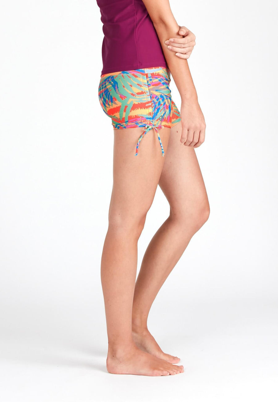 Wide Waistband Shorts in Palm Abstract Print - FUNFIT