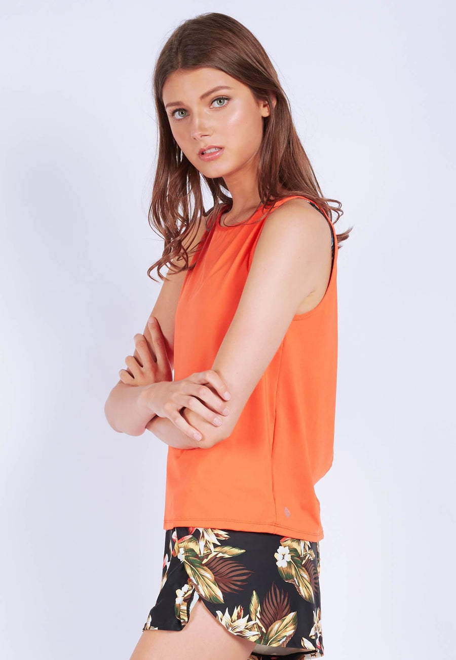 Uplift Tank Top (with Open Back) in Burnt Orange (S - XL) - FUNFIT