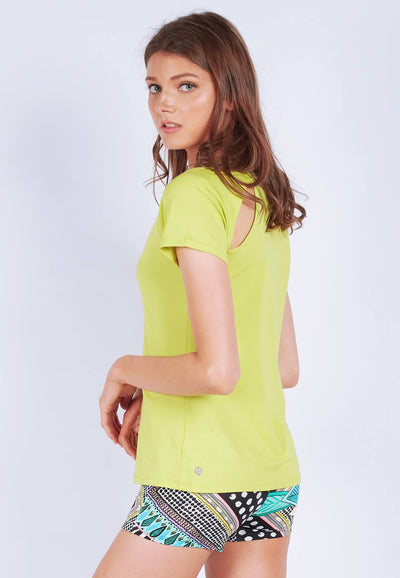 Power-Up Tee in Lime Yellow - FUNFIT