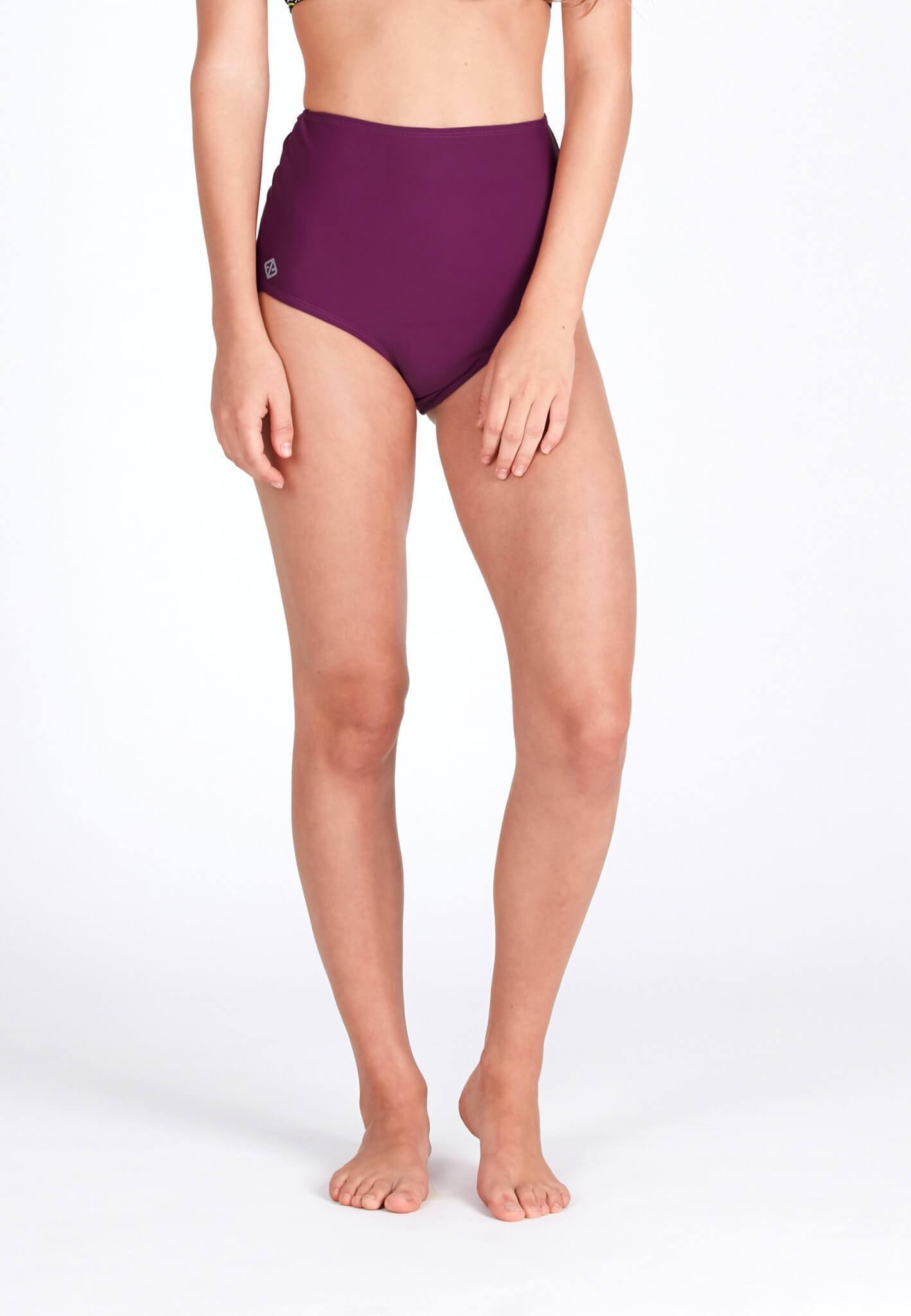 High Waisted Swim Bottom in Mulberry - FUNFIT