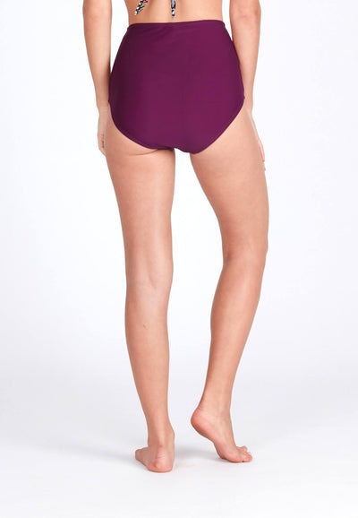 High Waisted Swim Bottom in Mulberry