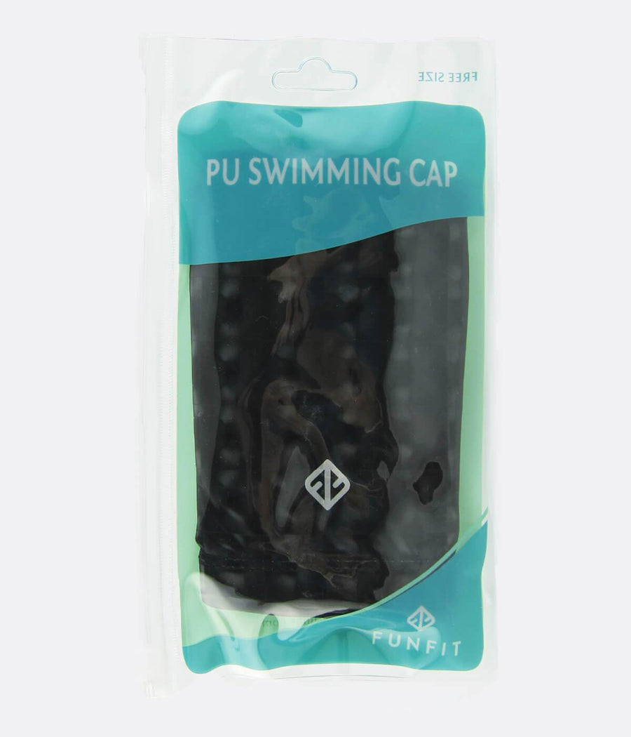 PU Coated Swimming Cap in Black - FUNFIT