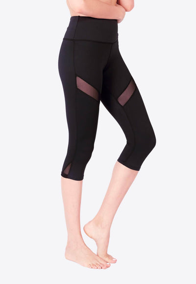 LIMITLESS Striped Mesh 3/4 Capris (with Keeperband®) in Black - FUNFIT