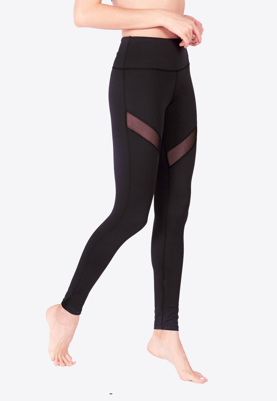 LIMITLESS Striped Mesh Leggings (with Keeperband®) in Black (XS - 3XL)
