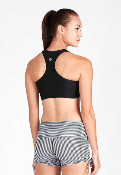 AthleiSwim™ Racer Crop Top in Black - FUNFIT