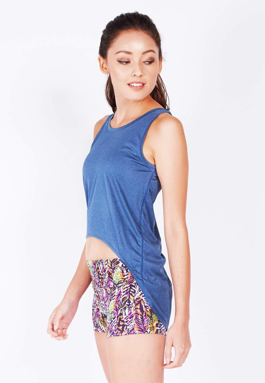 Mind and Body Circular Tank Top in Royal Blue - FUNFIT