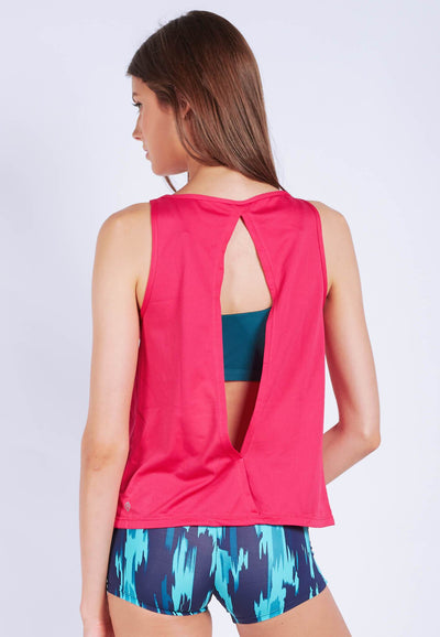 Uplift Tank Top (with Open Back) in Hot Pink - FUNFIT