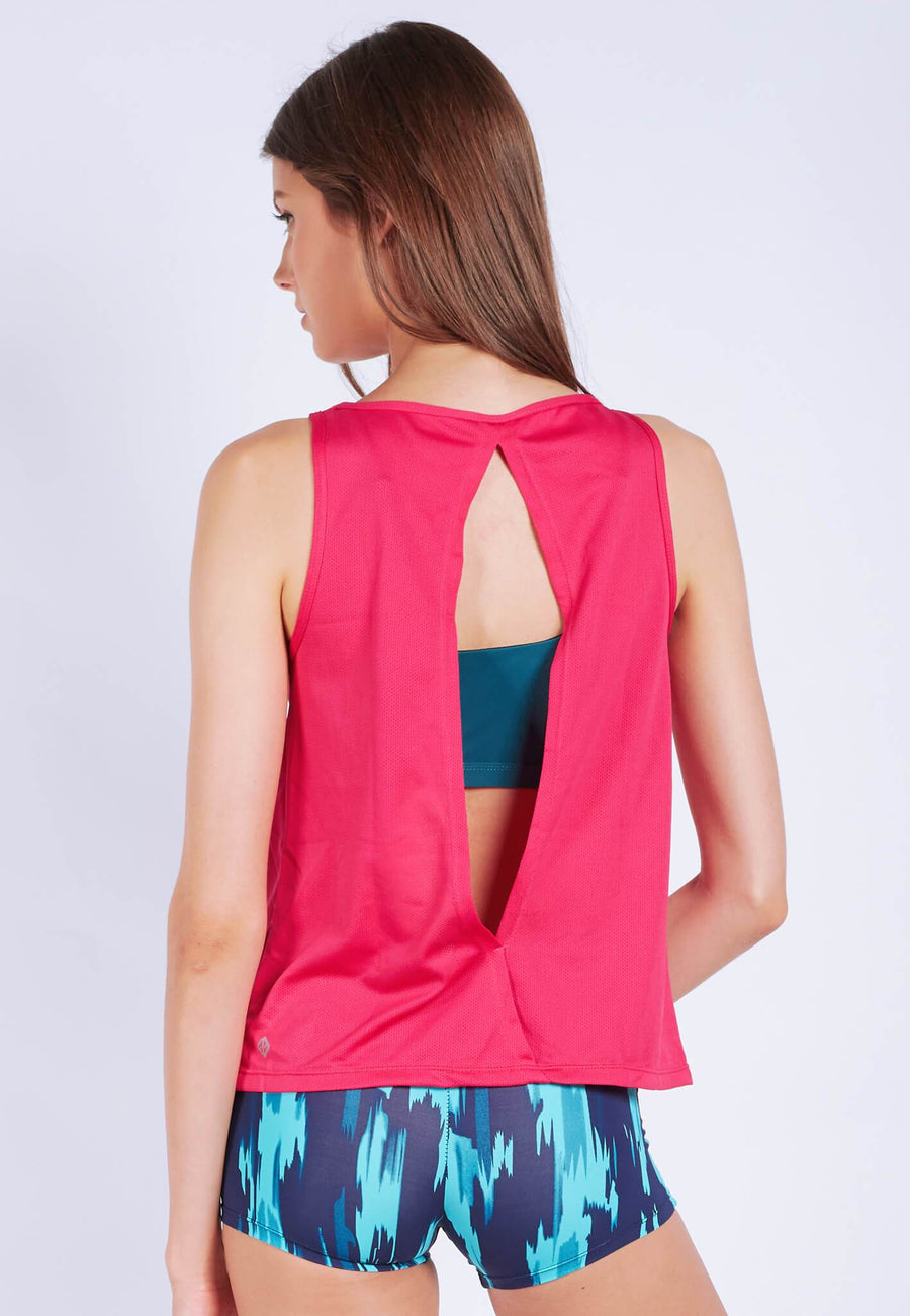 Uplift Tank Top (with Open Back) in Hot Pink (S - XL) - FUNFIT