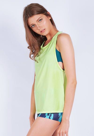 Slouchy Gym Tank in Fluorescent Yellow - FUNFIT