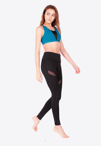 LIMITLESS Striped Mesh Leggings (with Keeperband®) in Black - FUNFIT