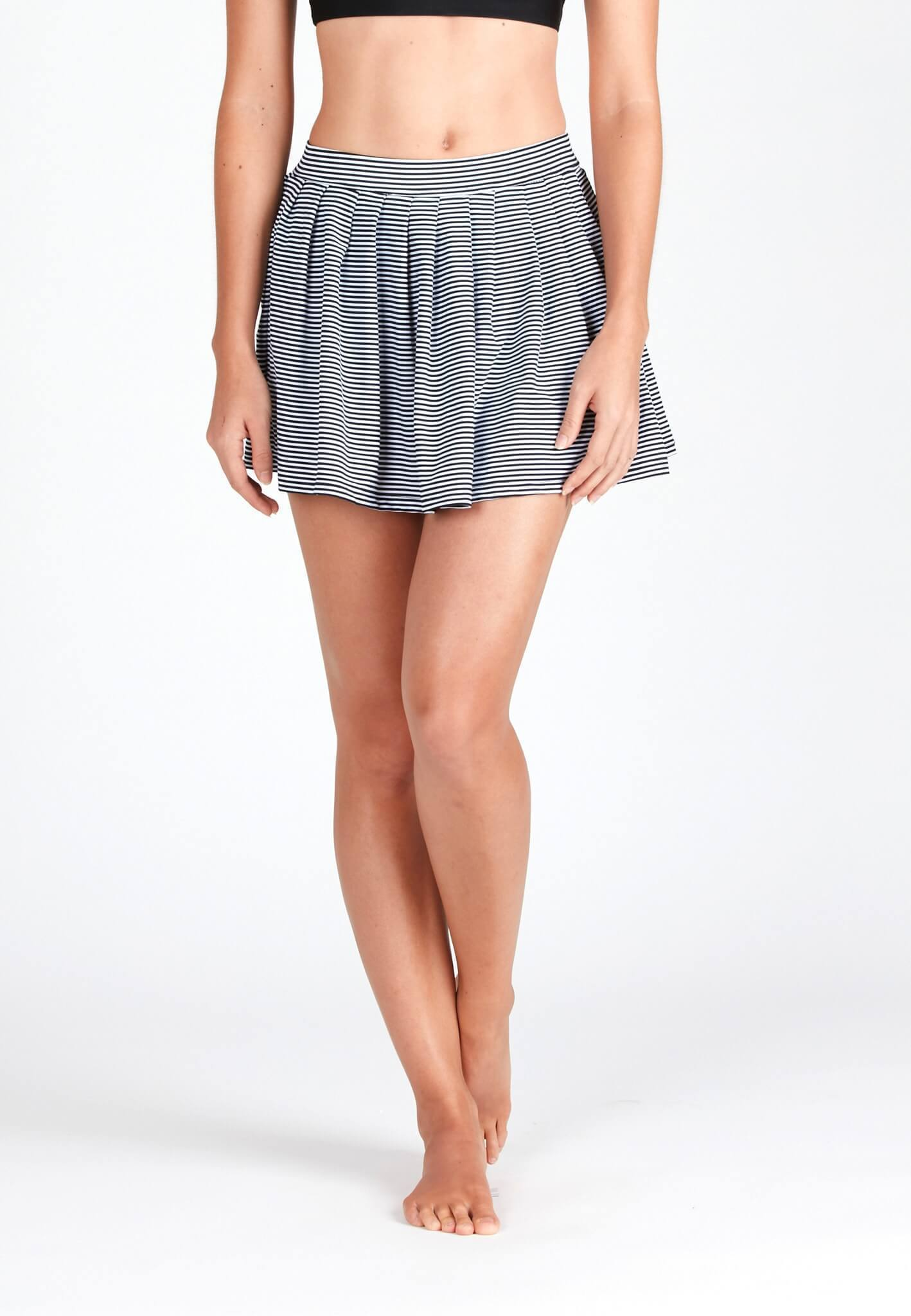 Pleated Swim Skorts in Striped Print - FUNFIT