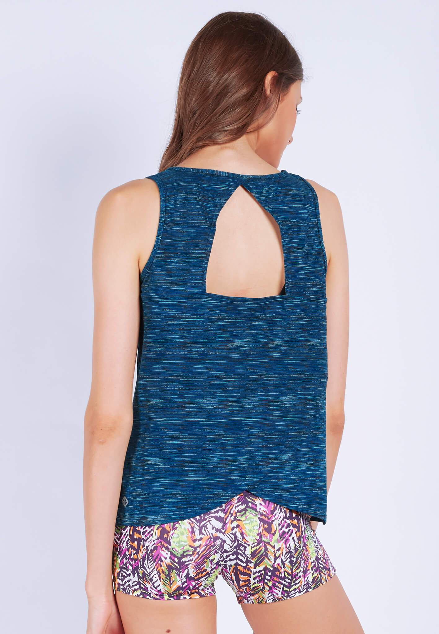 FUNFIT Freedom Open-back Tank Top in Heather Navy (S - XL)