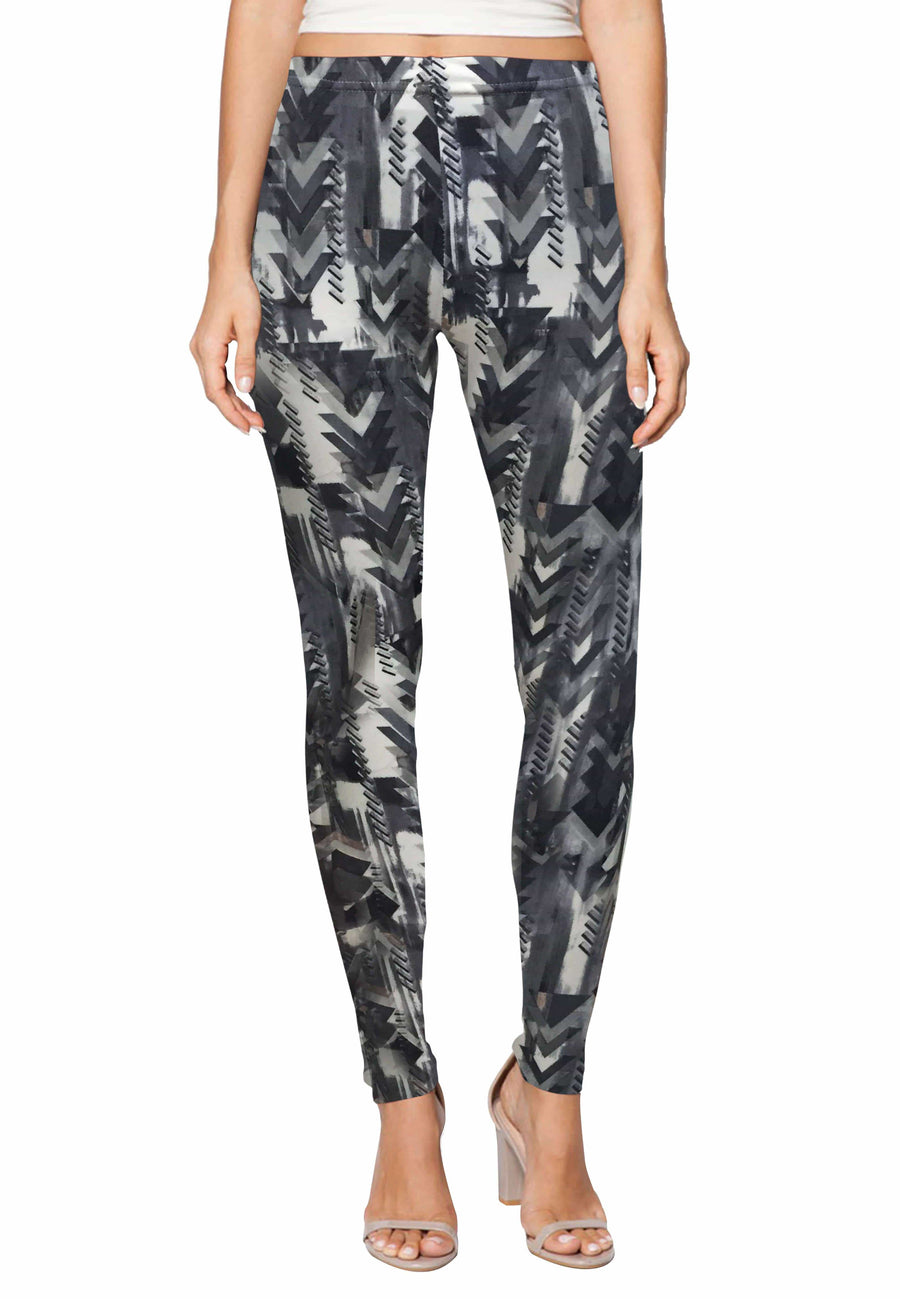 Stretch Leggings in Carbon Grey Print (Free Size) - FUNFIT