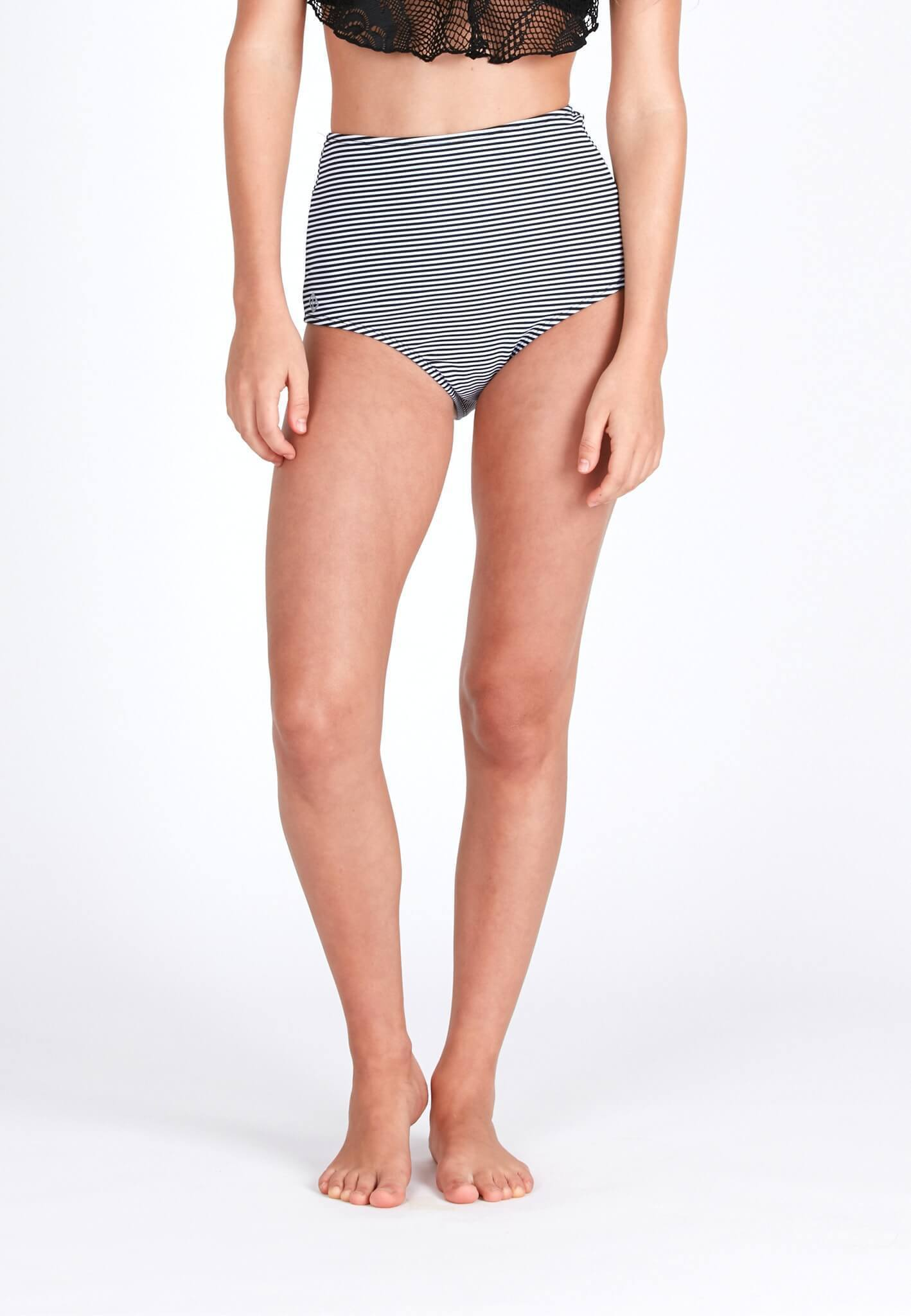 High Waisted Swim Bottom in Striped Print - FUNFIT