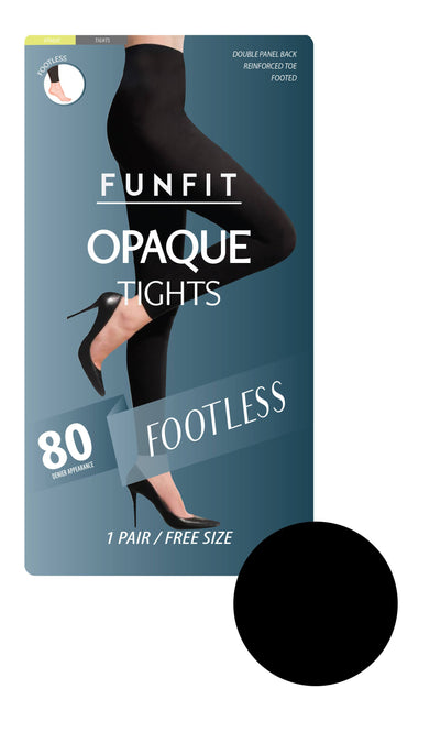 Opaque Tights in Black (Footless) 80 Denier