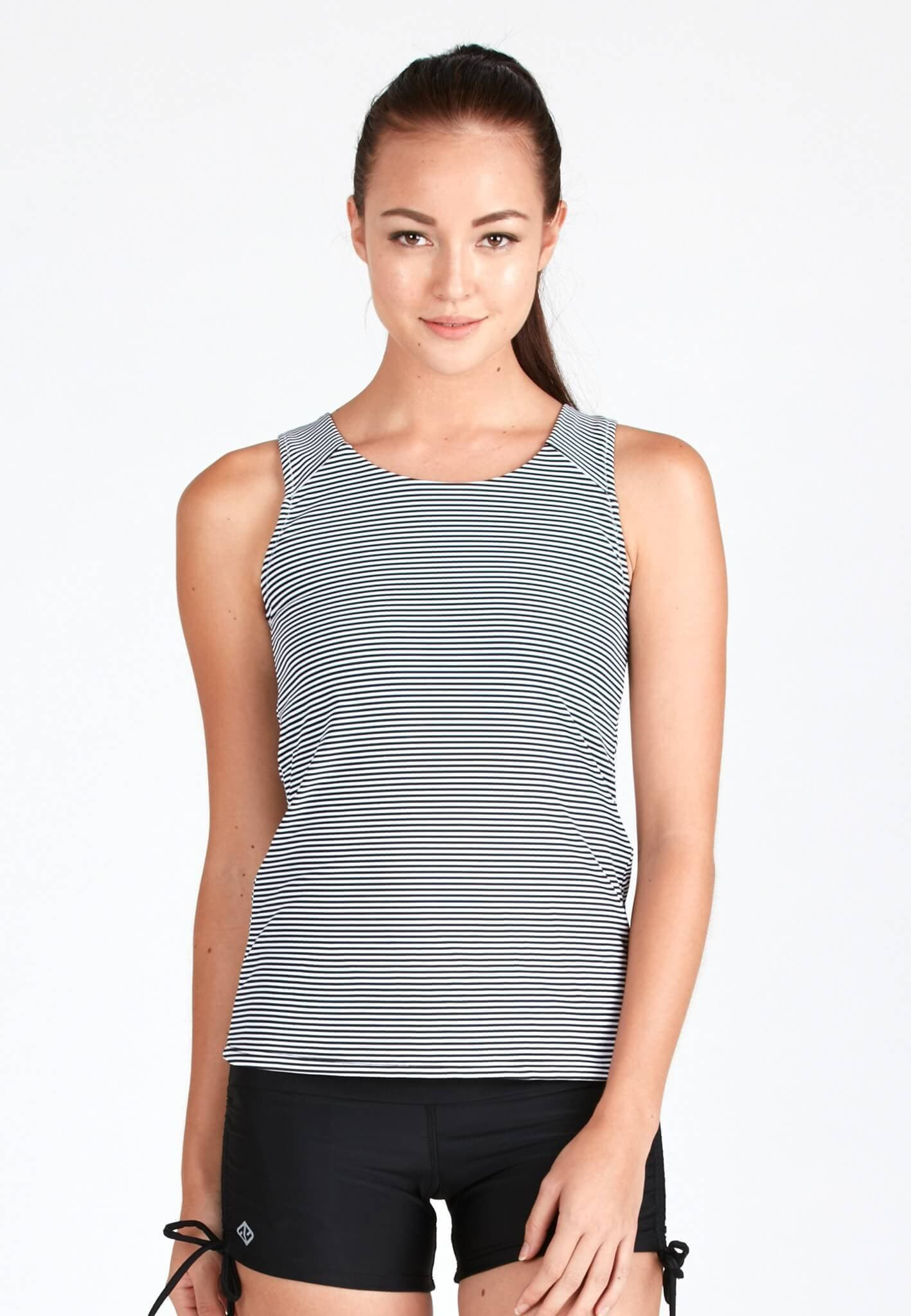Essential Rash Top in Striped Print - FUNFIT