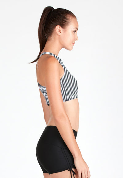 AthleiSwim™ Racer Crop Top in Striped Print