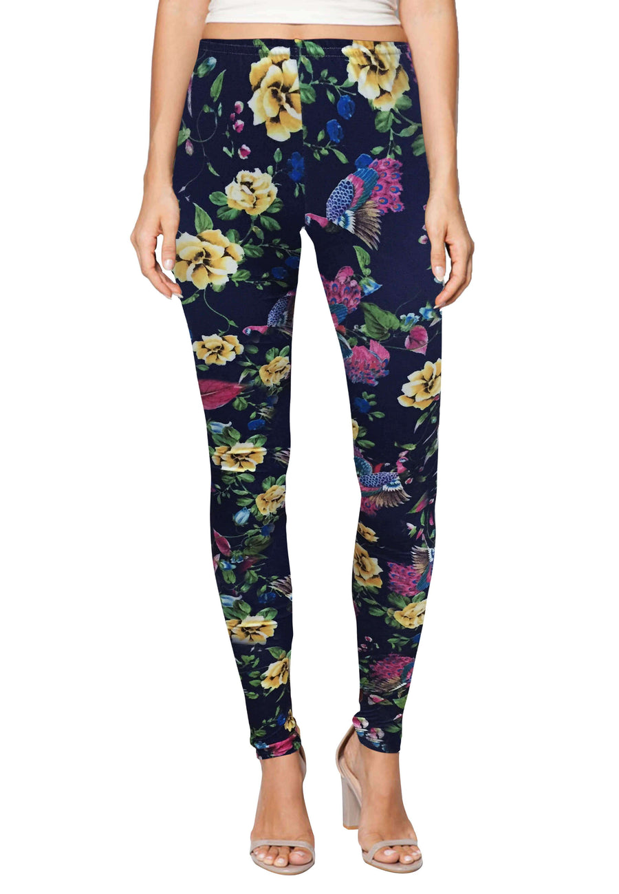 Stretch Leggings in Botanical Print (Free Size) - FUNFIT