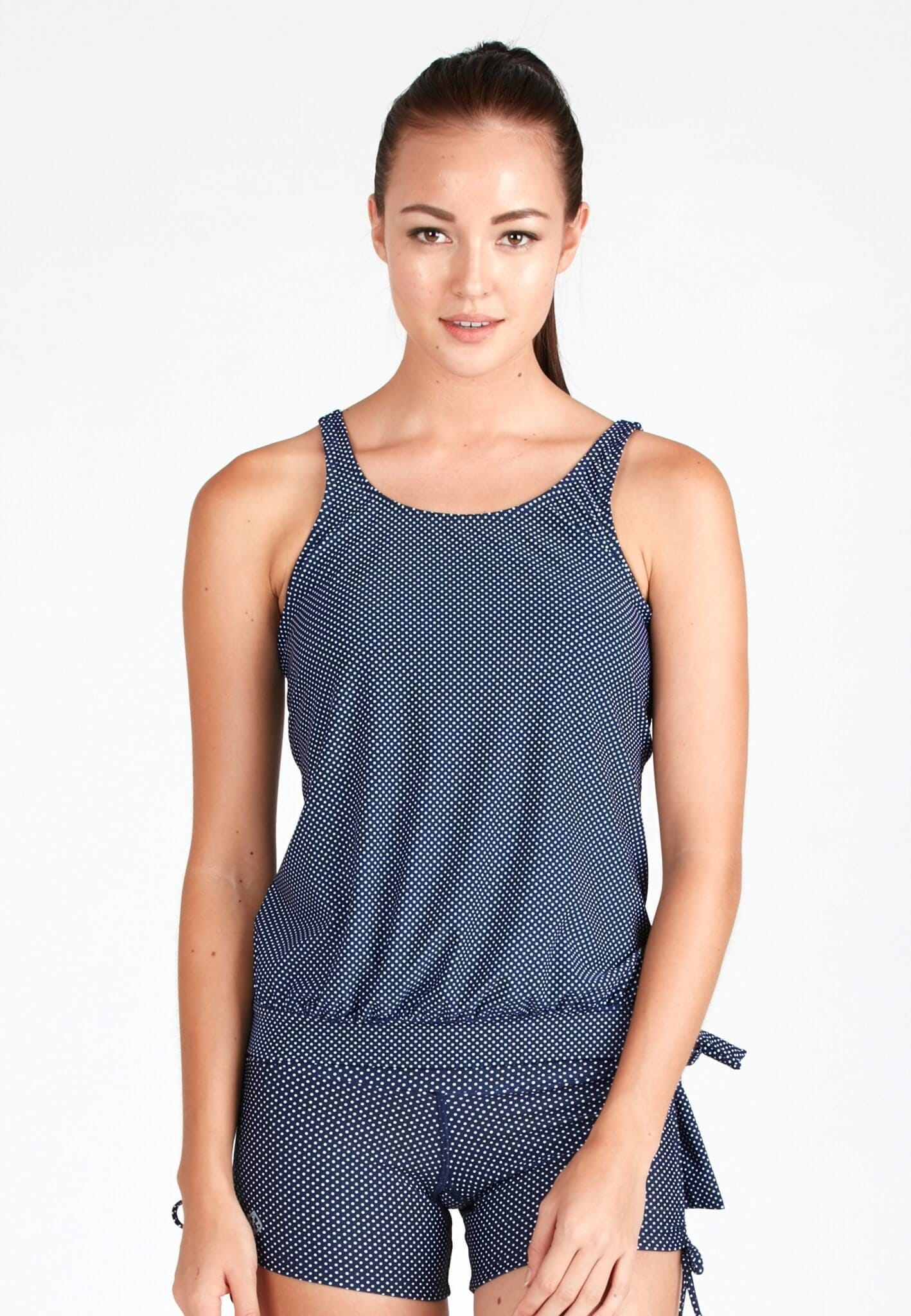 Hemmed Blouson Tankini Top in Dotted Print - FUNFIT