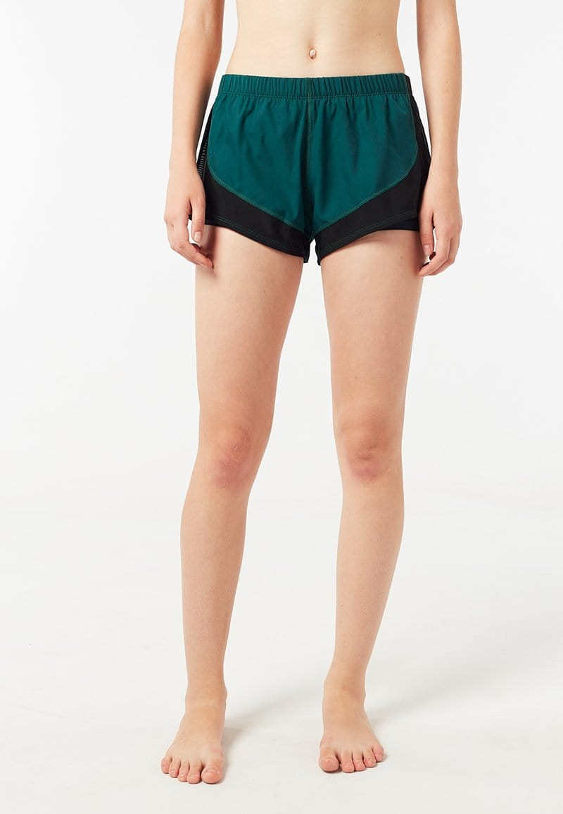 FUNFIT Overlay Curved Mesh Shorts (Dark Green) | XS – 2XL