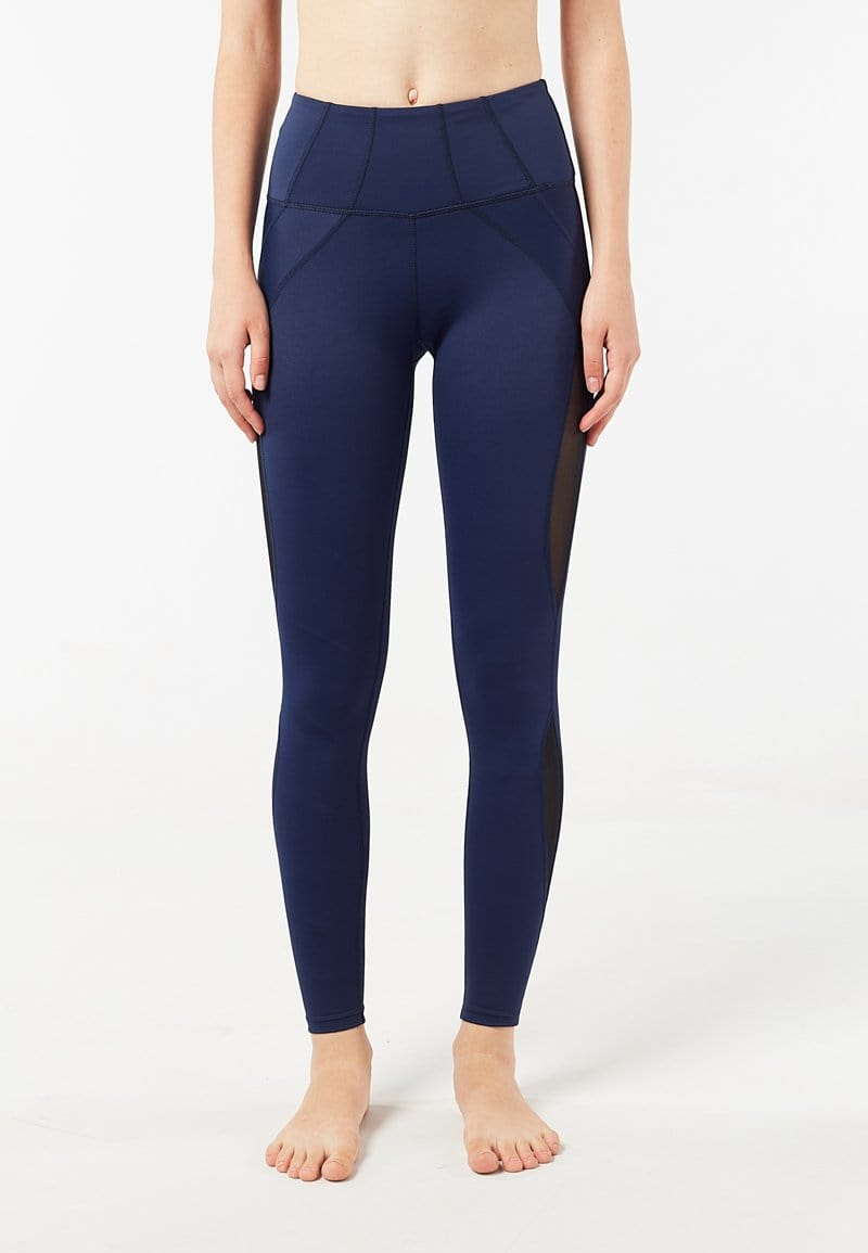 Intensity High Waisted Side-panel Mesh Leggings (Navy) | XS - 2XL