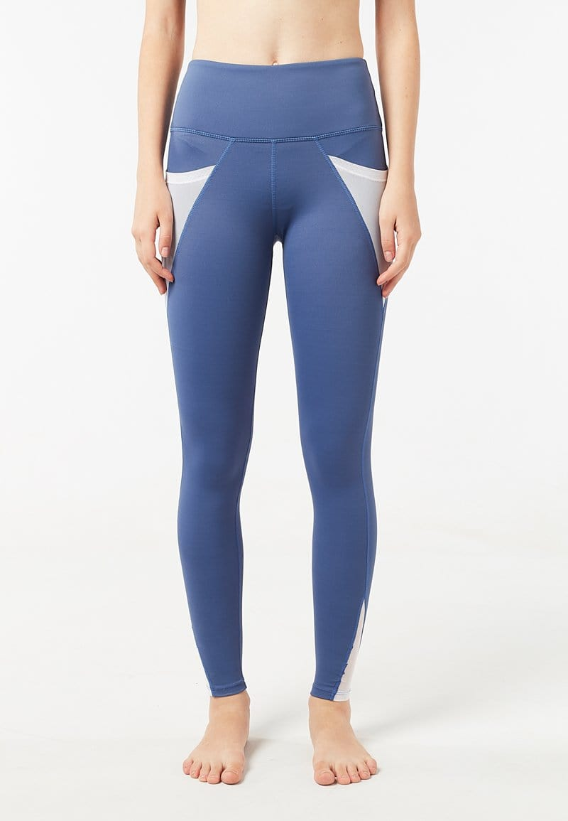 Intensity High Waisted Side-pocket Mesh Leggings (Heather Blue) | XS - 2XL