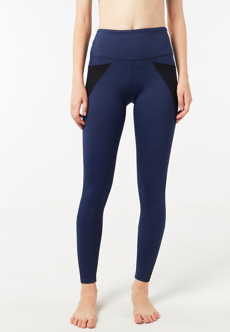 Intensity High Waisted Side-pocket Mesh Leggings (Navy Blue) | XS - 2XL