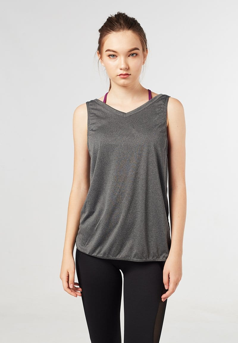 Batting Cross Back Tank Top (Heather Grey) | XS – 2XL