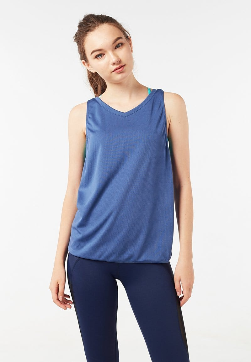 Batting Cross Back Tank Top (Heather Blue) | XS – 2XL