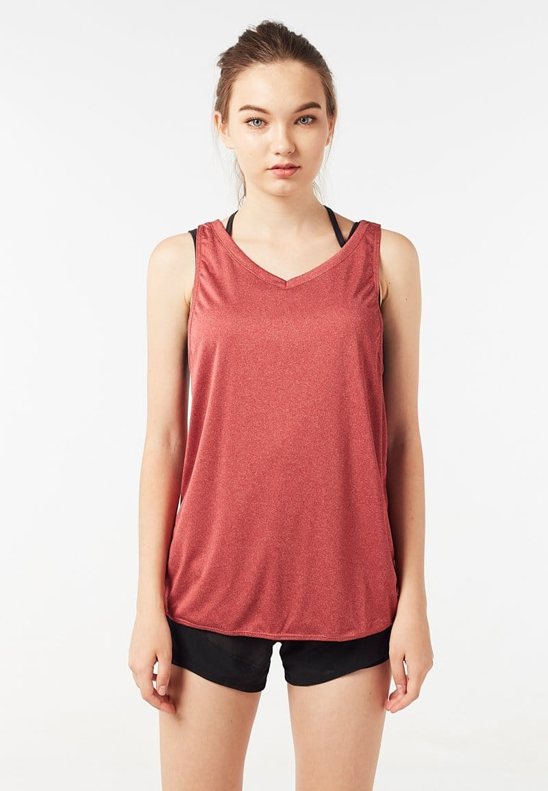 Batting Cross Back Tank Top (Heather Red) | XS – 2XL