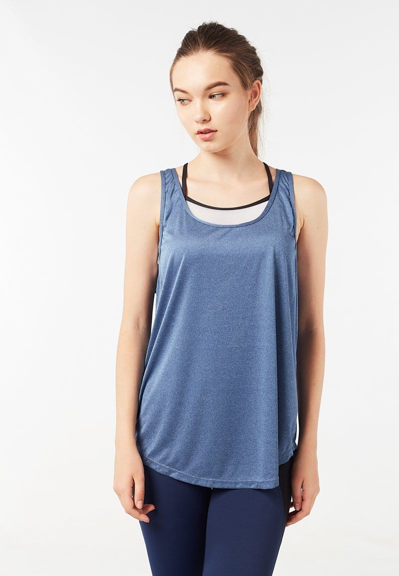 Mesh Racerback Tank Top (Heather Blue) | XS - 2XL
