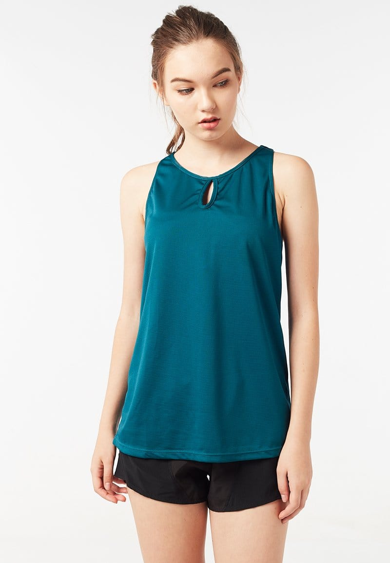 FUNFIT Keyhole Tank Top (Dark Green) | XS – 2XL