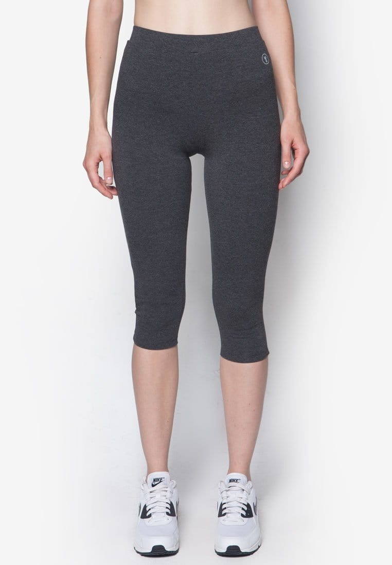 FUNFIT Basic Capri Leggings in Heather Grey (S - 3XL)