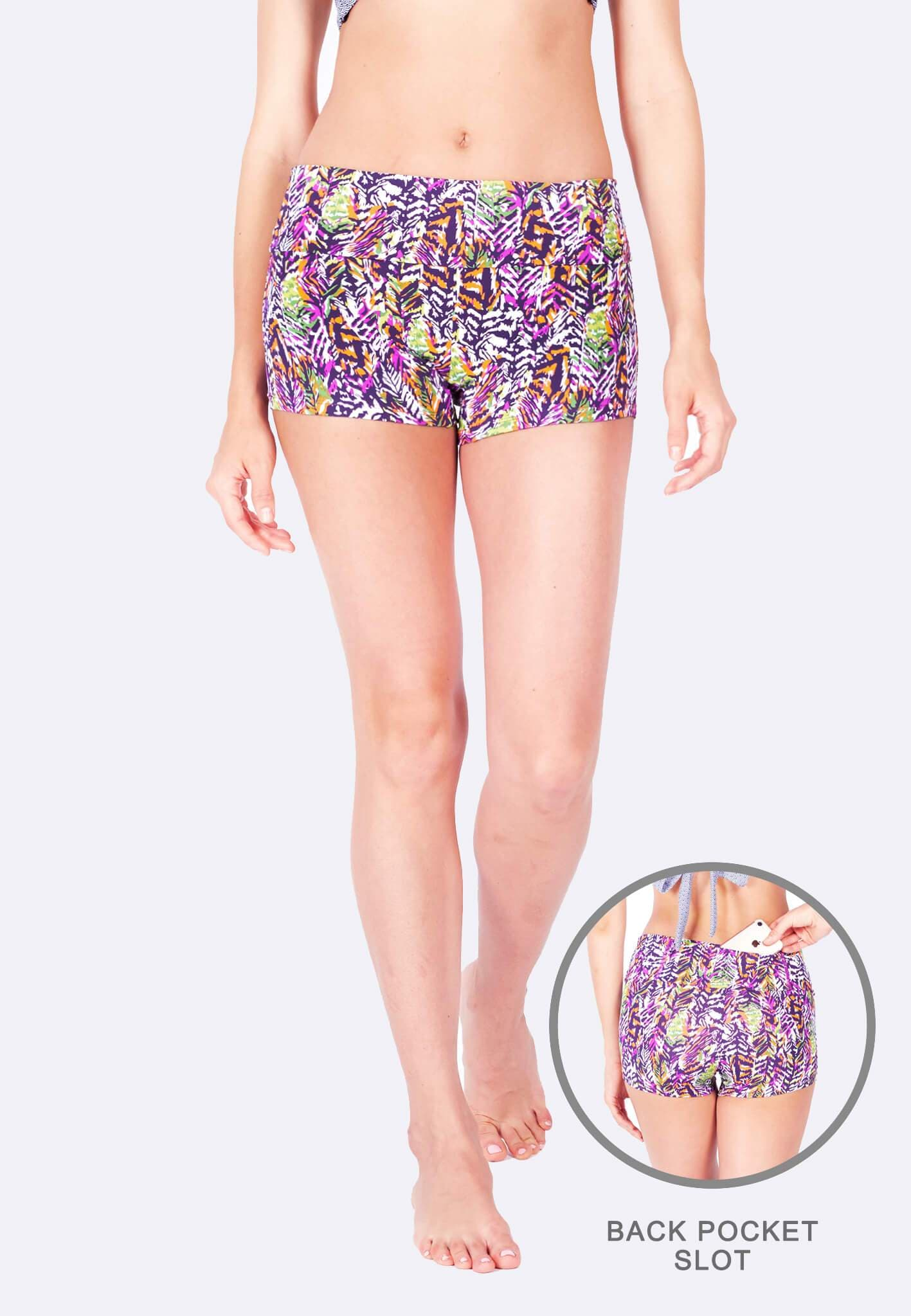 Athleiswim™ Boyshorts in Wilder Print - FUNFIT