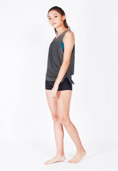Hustle Gym Tank (with Side Tie) in Grey - FUNFIT