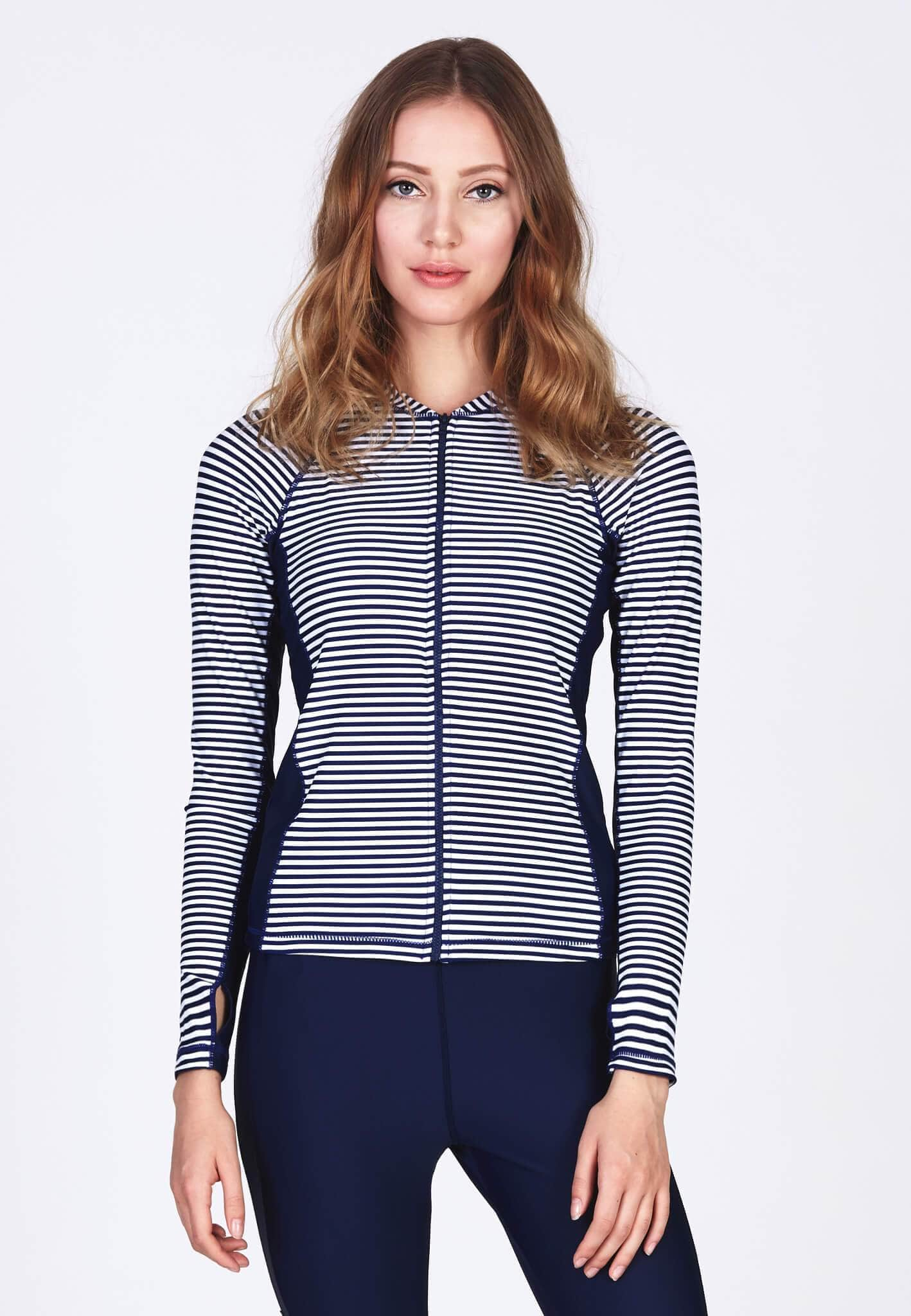 UPF50+ Zip Front Rashguard in Stripes/ Navy - FUNFIT