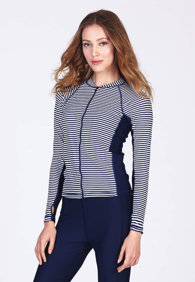 UPF50+ Zip Front Rash Top in Stripes/ Navy
