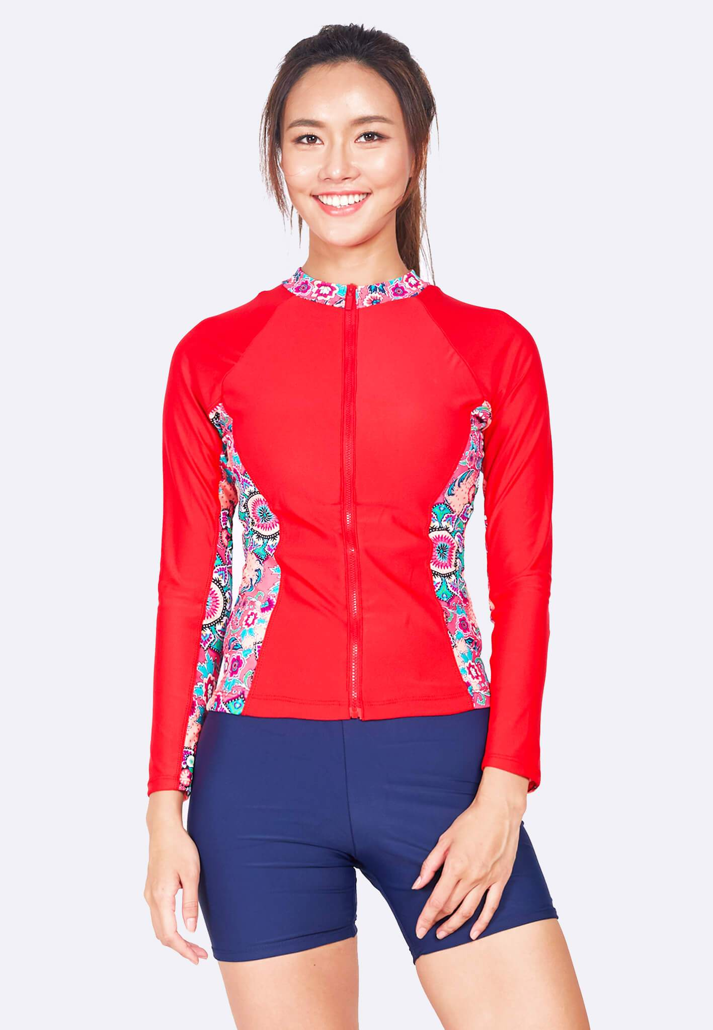 Colourblock Zip Front Rashguard in Red/ Mandala Print (S - 3XL) - FUNFIT