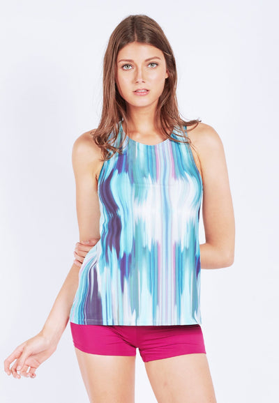 Excel Cross-back Tank Top in Iridescence Print (XS - 2XL) - FUNFIT