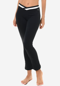 Flared Leggings with White Waistband in Black (S - 3XL)