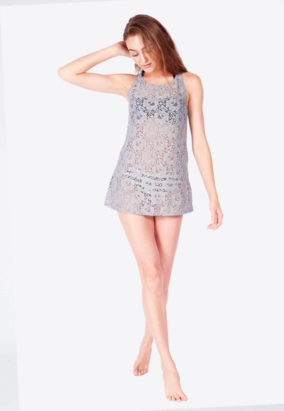 Openwork Mini-Shift Dress in Grey (with Side Pockets) - FUNFIT