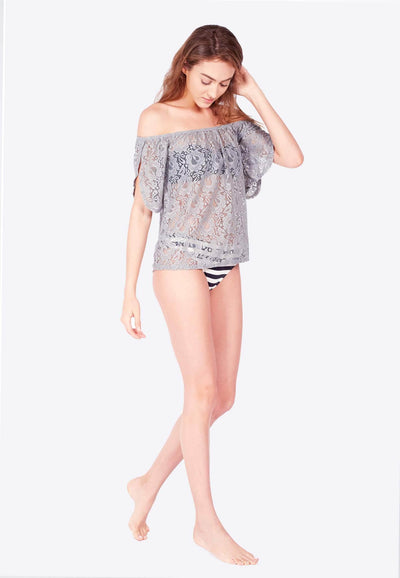 Openwork Off-Shoulder in Grey - FUNFIT