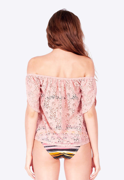 Openwork Off-Shoulder in Dusty Pink - FUNFIT