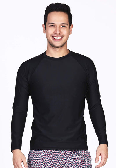 UPF50+ Crew Neck Rash Top in Black